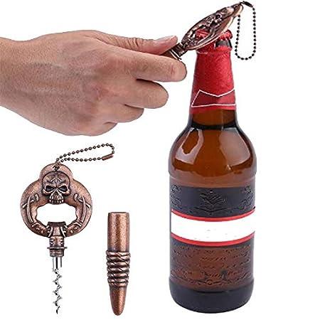 Bar 2/en 1/t/ête de Mort Vin Opener Vintage Portable Cuivre D/écapsuleur Porte-cl/és pour vin et bi/ère Parfait pour Homeuse AOLVO personnalis/é Vin Opener Restaurant Voyage Camp