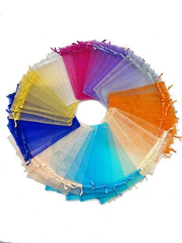 Ankirol 50pcs Sheer Organza Favor Bags 12 X 15.7 INCH X Large Organza Drawstring Bags (Mix)