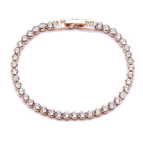 Essencedelight Zircon Bracelets Artificial Diamond Cluster Tennis Bracelet Stunning Rhinestone Classic Bracelet Bangles for Women and Ladies,Gold 12