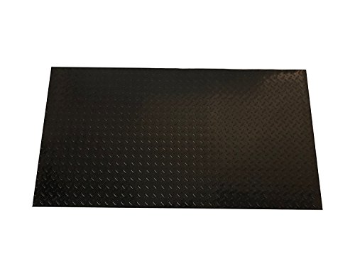 (Resilia - Black Plastic Floor Runner/Protector - Embossed Diamond Plate Pattern, (27 Inches Wide x 6 Feet Long) )