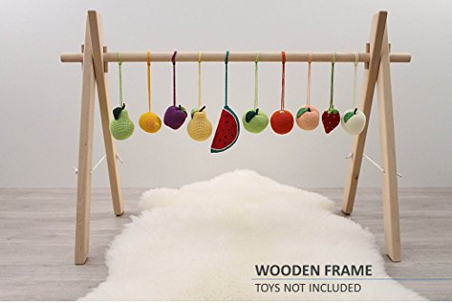 WIDE Wooden baby gym frame, foldable play gym, activity gym gender neutral, hanging bar, baby play gym bar, wood, non toxic, organic (Wooden Baby Gym)