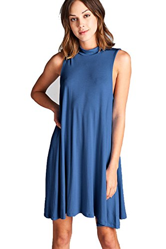 Womens Mock Sleeveless Casual Dress