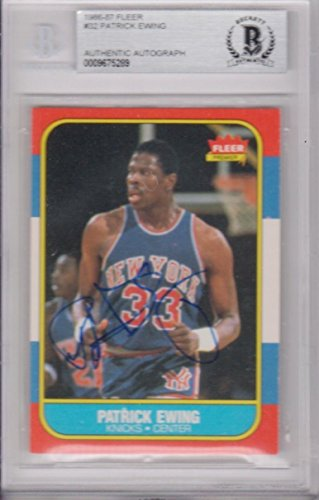 - Patrick Ewing New York Knicks 1986 Fleer #32 Signed AUTOGRAPH BECKETT BAS - Beckett Authentication - Basketball Slabbed Autographed Cards