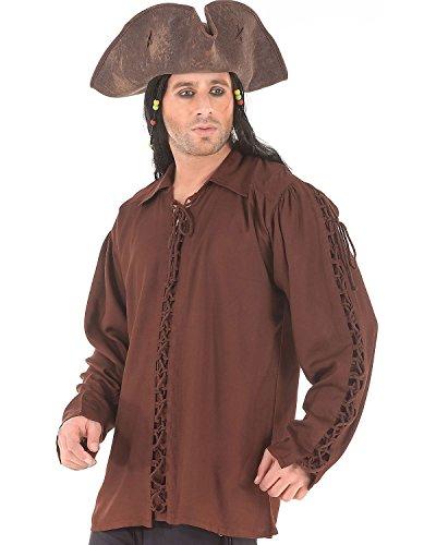 Medieval Poet's Pirate Renaissance Patrickson Shirt Costume [Chocolate] (XXX-Large)
