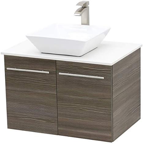 WindBay Wall Mount Floating Bathroom Vanity Sink Set. Taupe Grey Vanity, White Flat Stone Countertop Ceramic Sink – 30
