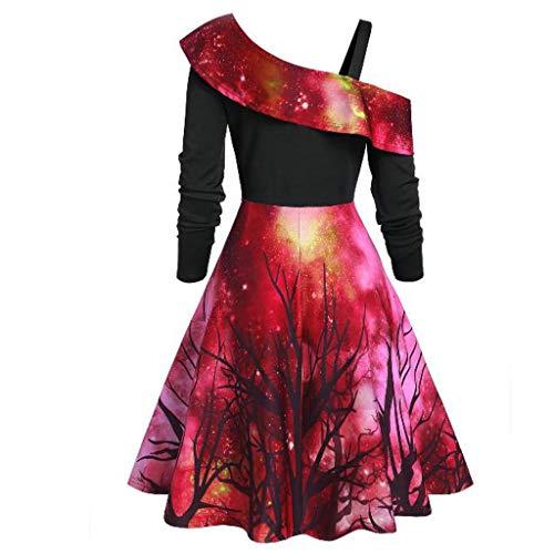 HebeTop Women Skew Neck Asymmetrical Dress Christmas Printed Long Sleeve Halloween Dress Red