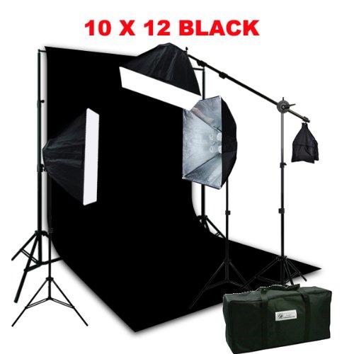 ePhotoInc 3200 K暖かい照明10 x 12ブラックモスリン背景サポートキットwith 2400ワット写真スタジオビデオライトセットケースh9004sb2 – 1012b 3200 K   B00CROEOFE