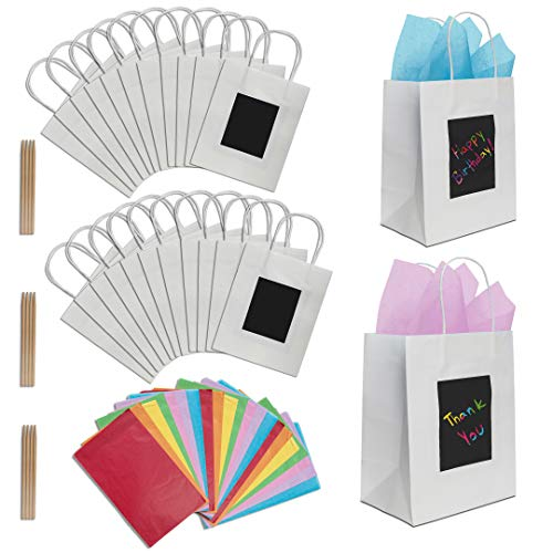 24 White Gift Bags with Scratch Paper Panel for Customization, Tissue Paper Also Included! These Unique Bulk Paper Bags with Handles are Great as Small Gift Bags, Party Favor Bags & Kraft Paper Bags