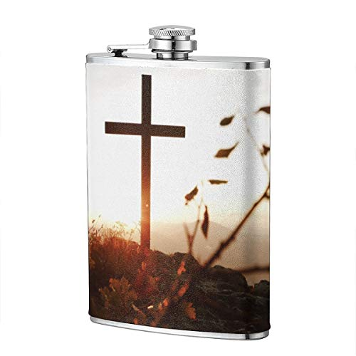 JHXZML Christian Cross Hip Flask 8 Oz 304 Stainless Steel Leather Wrap Drinking Pocket Flagon for Whiskey Alcohol - Christian Brothers Liquor