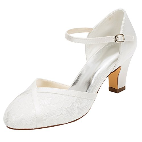 2018 Scarpe Emily Alto Avorio Tacco Tacco da con alla Sposa Bridal Caviglia Scarpe Alto Cinturino Color Pizzo in Avorio Yq0YrU