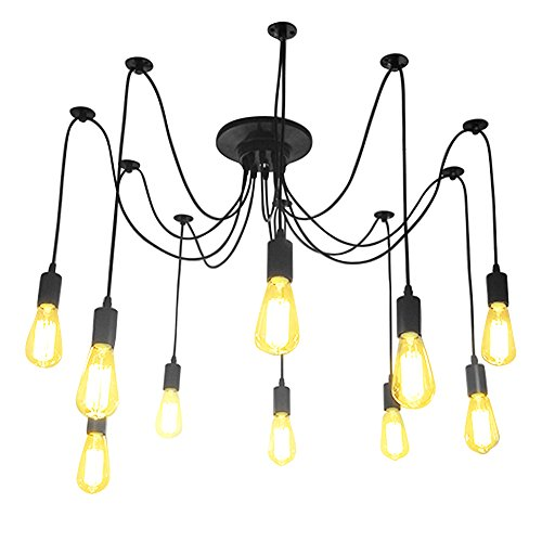Fuloon Vintage Edison Multiple Ajustable DIY Ceiling Spider Lamp Light Pendant Lighting Chandelier Modern Chic Industrial Dining With Remote Control (10 head cable 180cm/70.9inch each) ()
