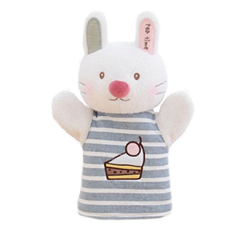 Blancho Bedding Cartoon Animals and Figures Hand Puppets Plush Puppets for Family Games (White Rabbit 25x11cm)]()