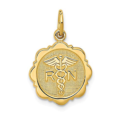 Solid 14k Yellow Gold Registered Nurse Disc Pendant Charm (12mm x -