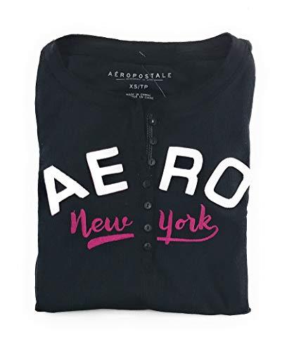 Aeropostale Womens Long Sleeve Henley Shirt Black Medium from Aeropostale