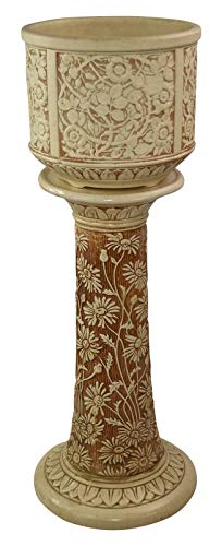 Weller Pottery Clinton Ivory Floral Ceramic Jardiniere and Pedestal