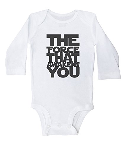 Baffle Star Wars Inspired Baby Onesie/The Force That Awakens You (12M, White LS)