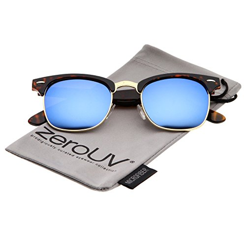 zeroUV - Premium Half Frame Colored Mirror Lens Horn Rimmed Sunglasses 50mm (Tortoise-Gold / Blue - Blue Tortoise Sunglasses