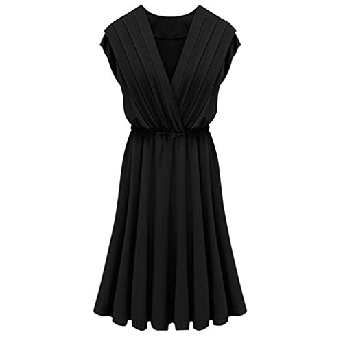 Milk Castle (East Castle Women's Elegant Deep V-Neck Milk Fiber Dress W-292 Black (XL/US 6))