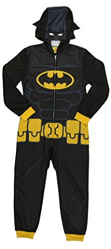 LEGO Batman Big Boys' Costume, Onesie Pajama, All-in-One Set, Black Yellow, 8 -