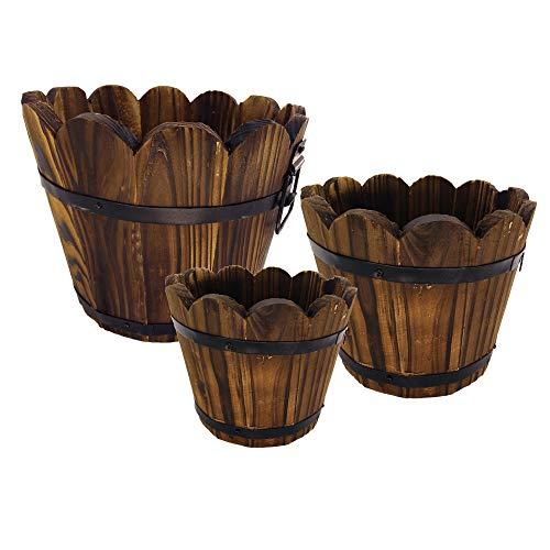 Wooden Large Planter - Evniset Rustic Succulent Wooden Barrel Planter Plant Container Box Set of 3 (3 Sizes)