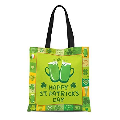 Semtomn Canvas Tote Bag Shoulder Bags Addiction Green Beer and the Text St Patrick Day Women's Handle Shoulder Tote Shopper Handbag