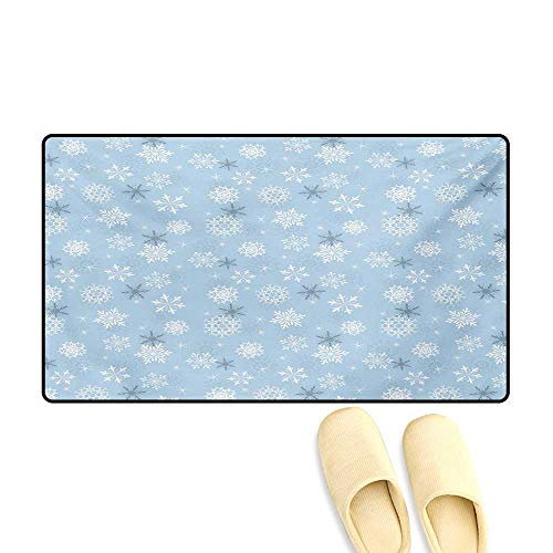 - Door Mats,Cold Weather in Winter New Year`s Eve Traditional Holiday Christmas Stars,Bath Mats for Bathroom,Baby Blue Grey White,24