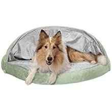 Furhaven Pet Dog Bed | Orthopedic Round Microvelvet Snuggery Burrow Pet Bed for Dogs & Cats, Sage, 44-Inch