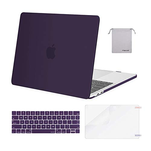 MOSISO Compatible with MacBook Pro 13 inch Case 2020 2019 2018 2017 2016 Release A2338 M1 A2289 A2251 A2159 A1989 A1706 A1708, Plastic Hard Shell&Keyboard Cover&Screen Protector&Pouch, Lavender Purple