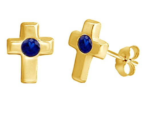 (Simulated Blue Sapphire Single Stone Cross Stud Earrings 14K Yellow Gold Over Sterling Silver)