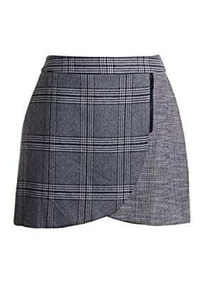 alice + olivia Lennon Plaid Color Blocking Mini Skirt in Grey/Black