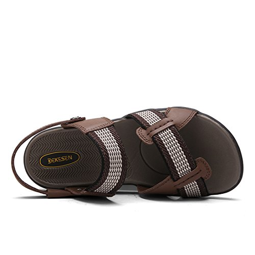 Sport Leather Weaven DEKESEN Brown Mens Genuine Sandals vanq4S6pw
