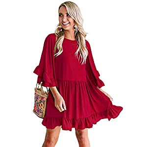 Ruffle Sleeve Swing Dress