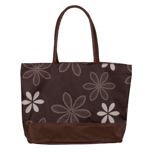 Ladies Printed Cute Flower Motif Tote Bag Brown - Bags Central