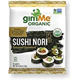 gimMe Snacks | Organic Premium Roasted Seaweed | Sushi Nori | Gluten-Free & Non-GMO | 0.81 Ounce (Pack of 1)