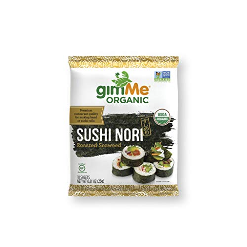 (gimMe Snacks | Organic Roasted Seaweed | Sushi Nori | 0.81 Ounce - (Pack of 12) | non GMO, Gluten Free, Keto, Paleo)