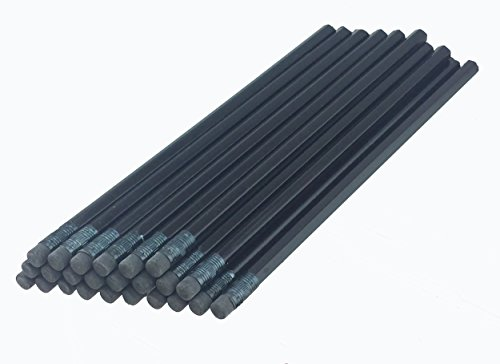 Black Pencil (ezpencils - Black Barrel Hexagon Pencils with Black Eraser and Black Ferrule - 36 pkg - Non-Smudge Eraser - # 2 HB Lead - Unsharpened - Non-Branded)