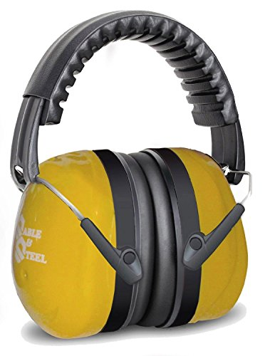 Sable & Steel Highest NRR 35db Safety Ear Muffs Auto Adjustable Earmuffs Shooters Hearing Protection Ear Muffs For Sports Outdoors Shooting Racing Work. Fits Adults Children.Yellow by Sable & Steel (Image #1)