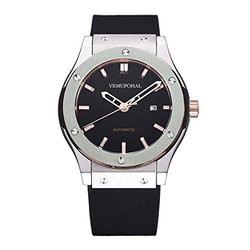 Luxury Men's Automatic Mechanical Watches Stainless Steel Waterproof Rubber Strap Wrist Watch