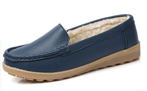 Women Flat Velvet NEWZCERS Loafer B Comfortable Cotton Shoes Leather Solid Winter Color Autumn Plus PU Blue Shoes XqXwFA