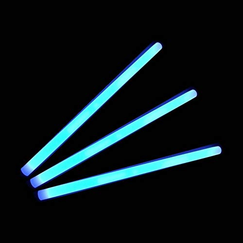 "Glow Sticks Bulk Wholesale, 10 12"" 15mm Diameter Blue Industrial Grade Jumbo Light Sticks, Bright Color, Glow 14 Hrs, Safety Glow Stick 3yrs Shelf Life, Ideal for Camping & Emergency, GlowWithUs Brand"