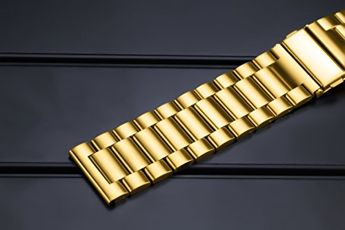 24mm Deluxe Interchangeable Watch Belt Gold Stainless Steel Belt Watch Strap Solid Link Straight End by autulet (Image #4)