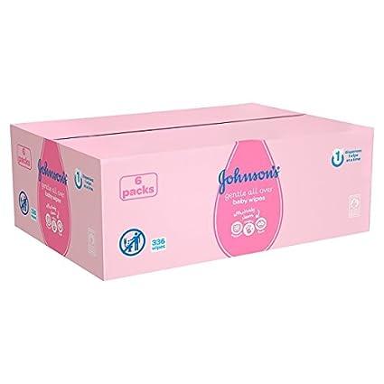 Suave para bebés JOHNSONS todas partes Toallitas Paquetes x6 (Pack de 6 x ...