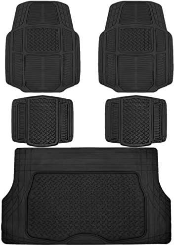 BDK RuggedDuty Rubber Auto Car Floor Mats w/Cargo Trunk Liner Cover Padding