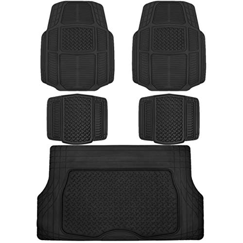 BDK AB110-C3 Black RuggedDuty Car Rubber Floor Mats w/Cargo Trunk Liner for Auto Sedan SUV Van - Total Protection