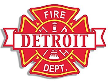 MAGNET DETROIT Fire Dept Maltese Shaped Magnet(firefighter department mi) 4 x 4 inch