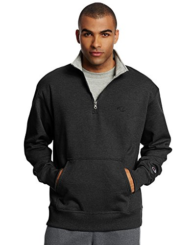 Champion Men's Powerblend Quarter-Zip Fleece Jacket, Black, Small from Champion