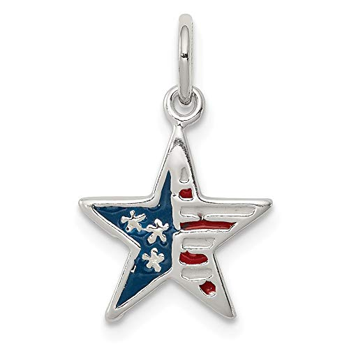 925 Sterling Silver Enamel American Flag Star Pendant Charm Necklace Patriotic Fine Jewelry Gifts For Women For Her