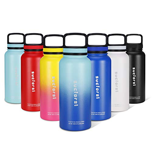 SUCFORST Water Bottle, 2 Extra Accessories - Vacuum Insulated Stainless Steel Wide Mouth Mug, Hot & Cold - Powder Coated Double - Walled Flask for Sports (32 oz, Twilight Blue/Teal Blue)
