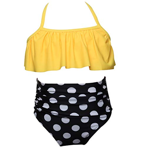 Rosiika Little Girls Two Pieces Swimsuit Bikini Set Ruffle Swimwear Beach Bathing Suit 128 Yellow Polka Dot ()