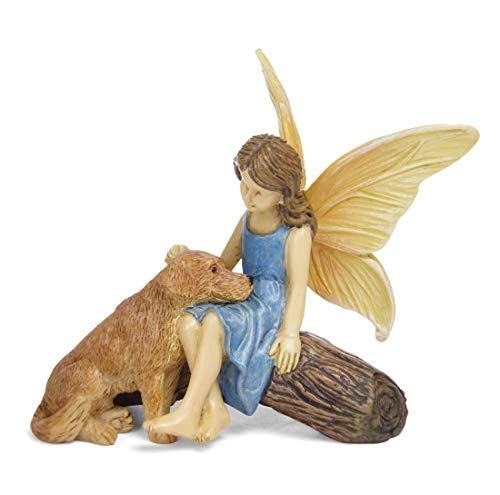 Good Boy Dog and Fairy Natural Brown 3 inch Resin Stone Collectible Figurine ()